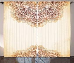 Victorian Decor Curtains by Ambesonne, Artistic Oriental Vin