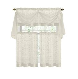 Vine Embroidered Kitchen Window Curtain Set- 1 Valance with