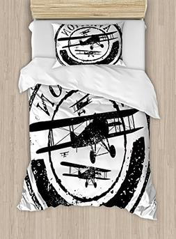 Vintage Airplane Decor Duvet Cover Set by Ambesonne, Grunge