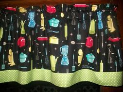 Vintage Kitchen Appliances Baking Green Polka Dot fabric cur