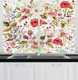 Ambesonne Vintage Kitchen Curtains by, Floral Theme Hand Dra