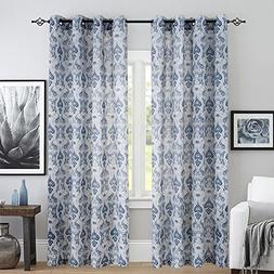 Vintage Linen Curtains for Living Room with Multicolor Damas