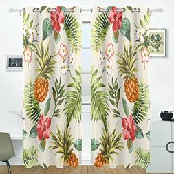 ALIREA Vintage Tropical Flowers With Pineapple Blackout Curt