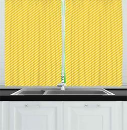 vintage yellow kitchen curtains 2 panel set