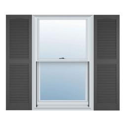 12 in. Vinyl Louvered Shutters in Tuxedo Gray - Set of 2 )