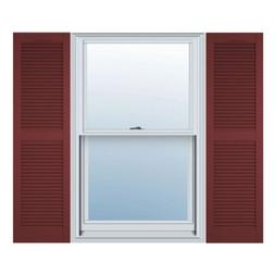 12 in. Vinyl Louvered Shutters in Wineberry - Set of 2 )