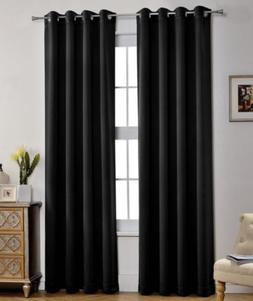 MYSKY HOME Viole Shee Window BLACK Curtains, 51 X 63..el