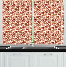 Vivid Drawing Kitchen Curtains 2 Panel Set Window Drapes 55""