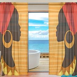 ALAZA Voile Sheer Window Curtain Silhouette African Girl wit