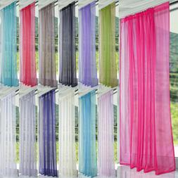 Voile Sheer Window Curtains Scarf Door Room Kitchen Blind Di