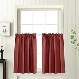Waffle-Weave Textured Tier Curtains for Kitchen Water-proof