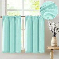 jinchan Waffle-Weave Textured Tier Curtains for Kitchen Wate