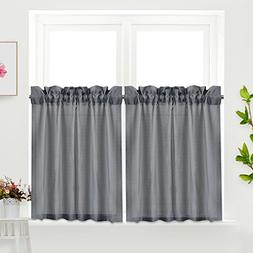 Idealhouse Grey Tier Curtains,Blackout Waffle Woven Textured