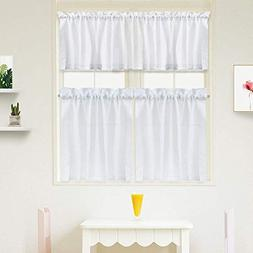 Idealhouse White Tier Curtains,Blackout Waffle Woven Texture