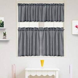 IdealHouse 3 Pieces Waffle Weave Textured Tier Curtains and