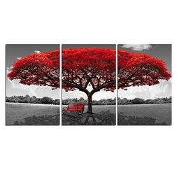 LKY ART Wall Art 3 Panel Red Tree Oil Painting Abstract Art