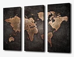 Canvas Wall Art World Map Wall Decor - 3 Piece Large Map Can