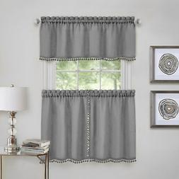 Achim Wallace Window Kitchen Curtain Tier Pair and Valance S