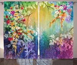 watercolor flower home decor curtains