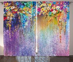 Ambesonne Watercolor Flower Home Decor Curtains, Abstract He