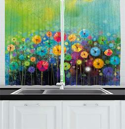 Ambesonne Watercolor Flower Home Decor Kitchen Curtains, Dan