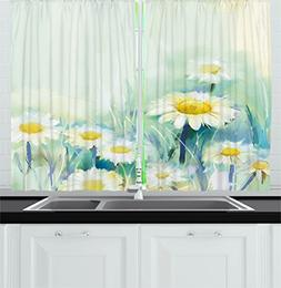 Ambesonne Watercolor Flower Home Decor Kitchen Curtains, Dai