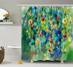 Ambesonne Watercolor Flower Home Decor Shower Curtain, Vibra
