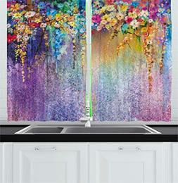 watercolor flower kitchen curtains home