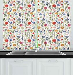 Watercolor Garden Kitchen Curtains 2 Panel Set Window Drapes