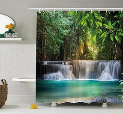 Ambesonne Waterfall Decor Shower Curtain by, Heaven Like Lan
