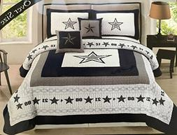 Western Star Barbed Wire Cow Boy Queen Size Quilt and Shams
