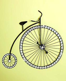 High Wheel Bicycle Crystal Beaded Wall Artwork Plaque Wall H