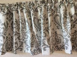 white and grey lined window valance 52