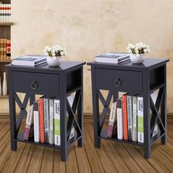 White  Bedroom  Nightstand End Side Bedside Table W/Drawer S