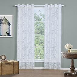Cloudy Arch White Bird Flower Sheer Curtain for Bedroom/Bed