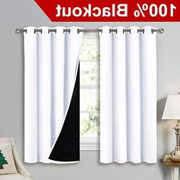 NICETOWN White 100% Blackout Lined Curtains, 2 Thick Layers