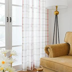 White Checkered Semi Sheer Curtains for Living Room Red and