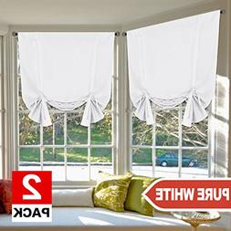 H.VERSAILTEX Pure White Curtains Thermal Insulated Tie Up Wi