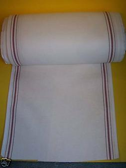 """White KITCHEN TOWELING,Red Stripe 17"""" wide; sold by the yard"""