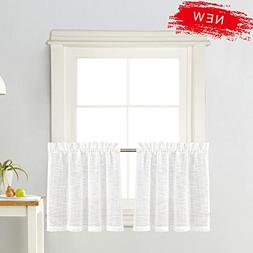 Zceconce White Linen Semi-Sheer Tier Curtains Privacy Textur