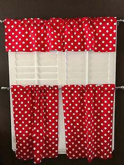 lovemyfabric White Polka Dots/Spots on Red Print 3-Piece Cur
