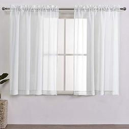 DWCN White Sheer Curtains Linen Look Rod Pocket Kitchen Curt