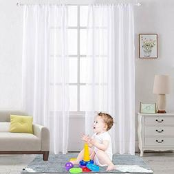 White Sheer Curtains Rod Pocket Sheer Voile Drapes Window Tr