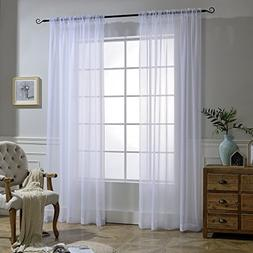 NICETOWN White Sheer Curtains Voile Draperies Rod Pocket & B