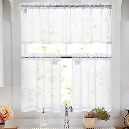White Sheer Kitchen Curtain Sets 3 Pcs Floral Embroidered Se