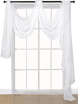 Utopia Bedding Premium White Sheer Window Scarf Valance - Wi