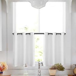 Lazzzy White Kitchen Tiers Curtains for Bedroom Casual Weave