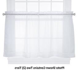 HLC.ME White Sheer Voile Window Kitchen Tiers - Valance - fo