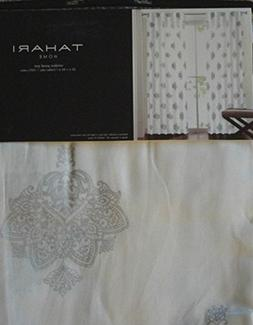 Tahari White SILVER Istanbul DAMASK Window Panels Drapes Set