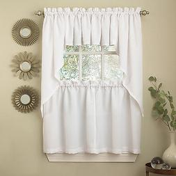 White Solid Opaque Ribcord Kitchen Curtains - Choice of Tier